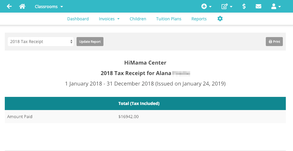 Example of creating a tax receipt for parents using HiMama.