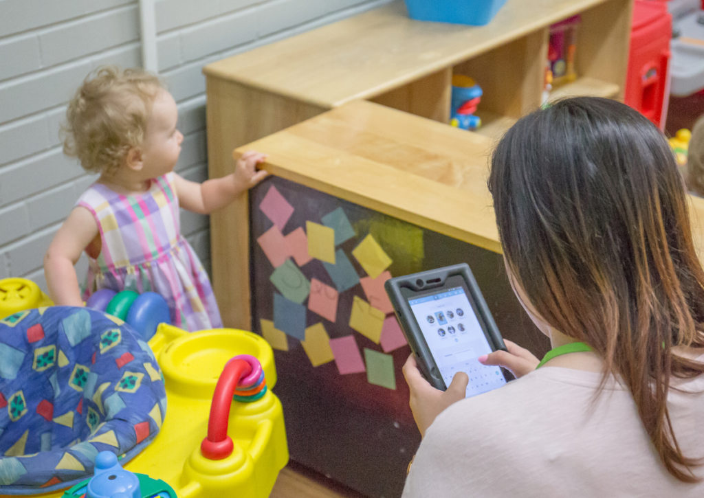 document behavior as it happens with a child care app