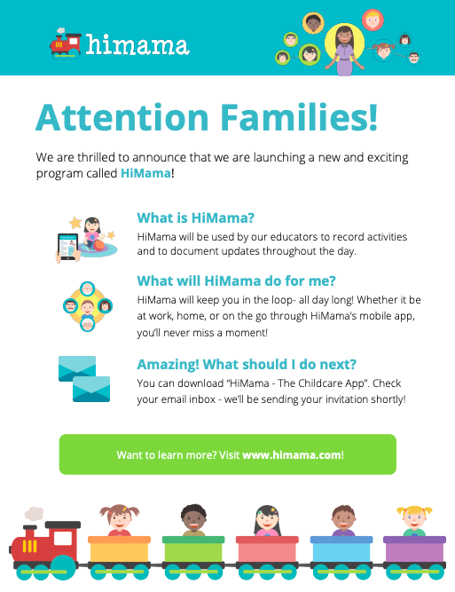 Parent flyer about new child care app
