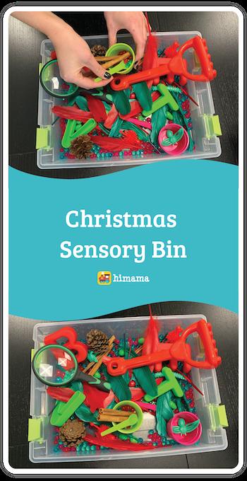 christmas sensory bin daycare activity