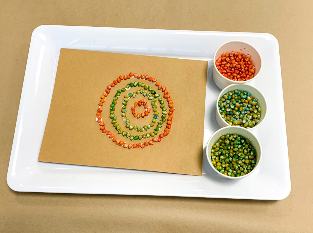 cork kernel mosaic art fine motor activity for preschoolers and toddlers