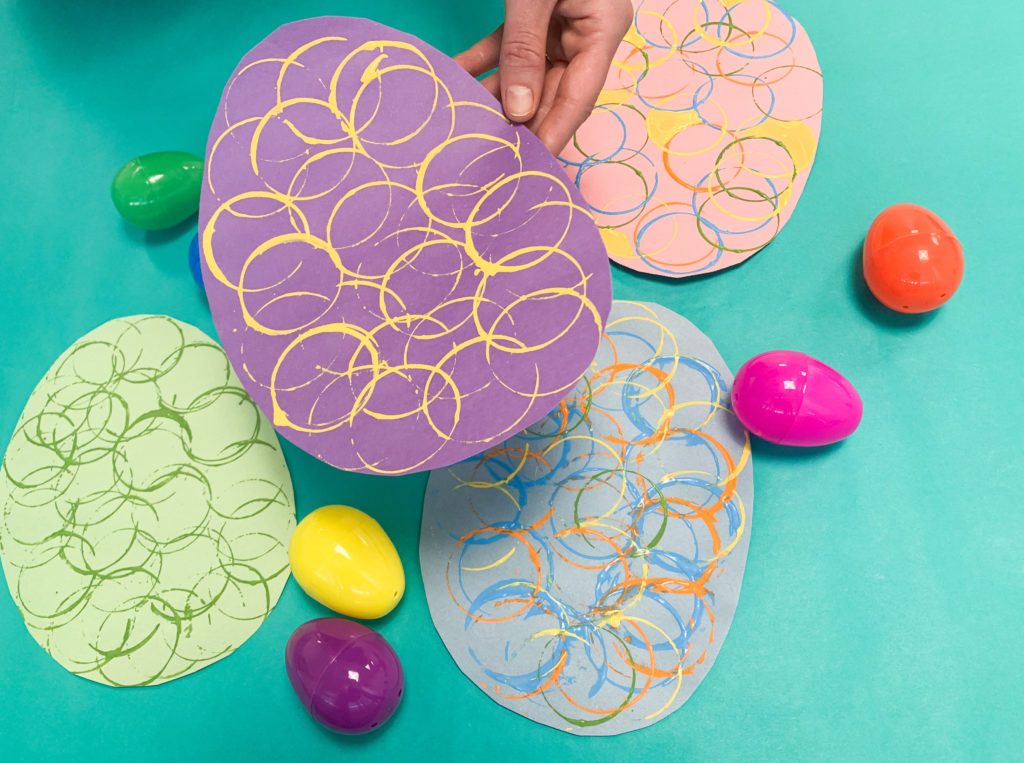 easter egg stamping fine motor activity for preschoolers and toddlers
