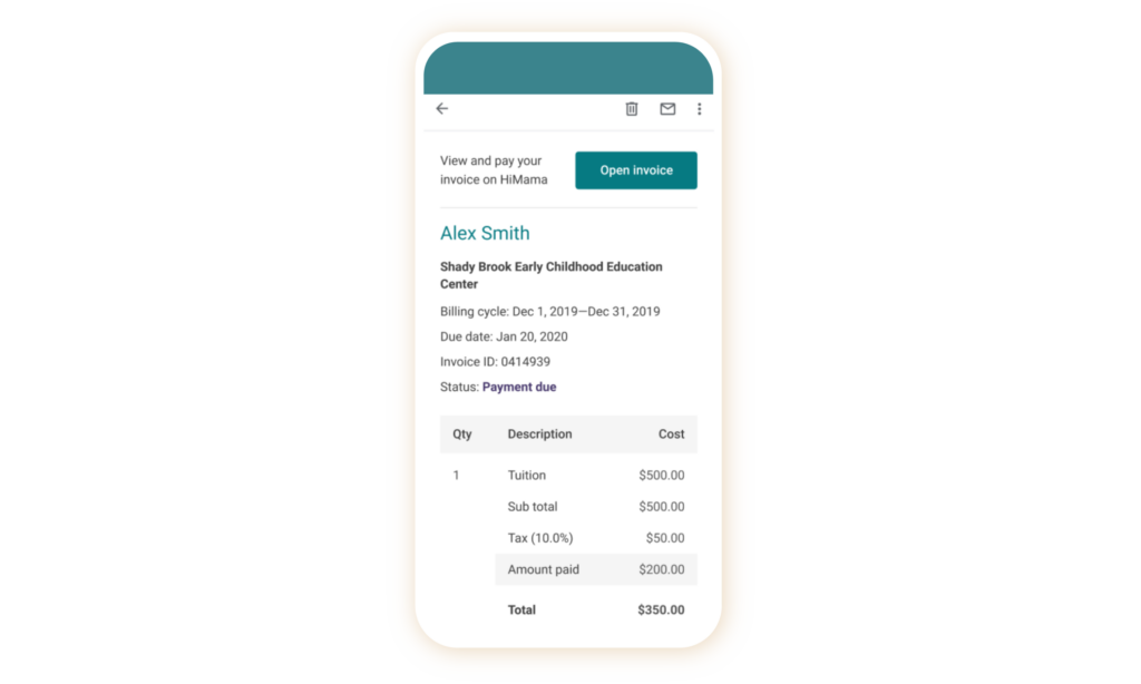 childcare partial payments screenshot